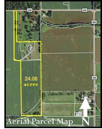 24 ACRES – TILLABLE – WOODS – PASTURE – OUTBUILDINGS – WELL