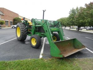 JOHN DEERE TRACTOR & LOADER - WOODS CADET ROTARY MOWER - RHINO GRADER BLADE @ Lawson Auction Gallery | Danville | Indiana | United States
