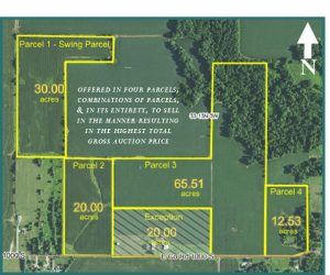 128+ ACRES - MOSTLY TILLABLE - WOODS - CREEK @ Putnam County Airport Hotel | Greencastle | Indiana | United States